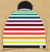konfigurierte Mütze Regenbogen mit Bommel